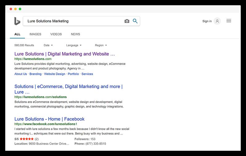 Web Design Orange County Bing Search